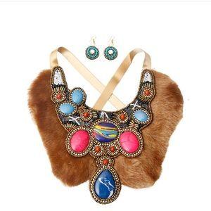 🖤WAKANDA EDITION Li Beaded Fur Bib Necklace Set💚